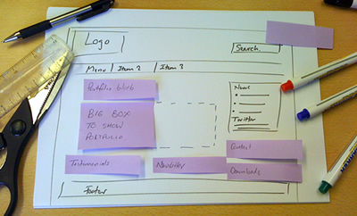 Add post-its to original sketch, to build up your website