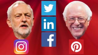jeremy corbyn and bernie sanders social media