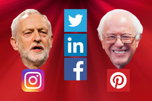 jeremy corbyn and bernie sanders social media