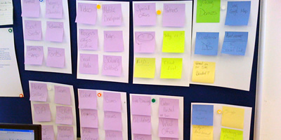 Organize post-its to make sense of your website requirements